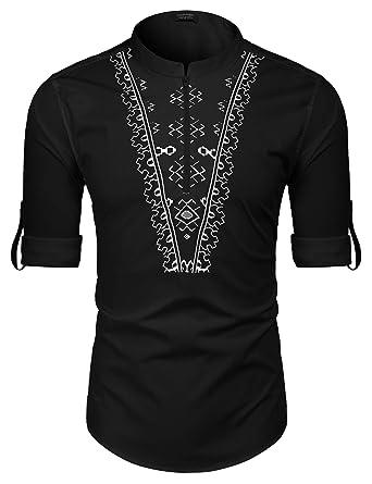 9d4602611b COOFANDY Men's Slim Fit Henley Shirt Long Sleeve Graphic Printed Casual Zip  Up Cotton Linen Beach