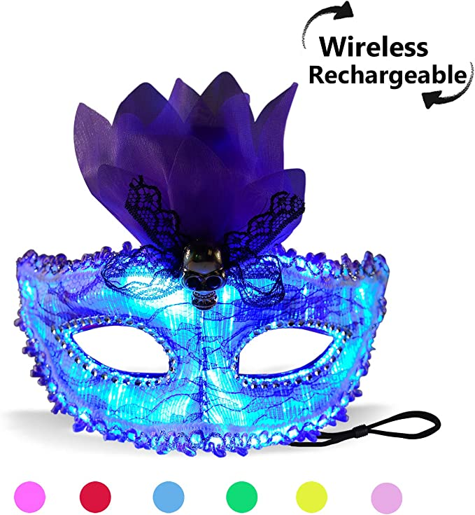 7 Color Lights LED Light up Venetian Mask USB Rechargeable Glowing Luminous  Eye Mask for Christmas Party Festival Dancing Rave Masquerade Costumes