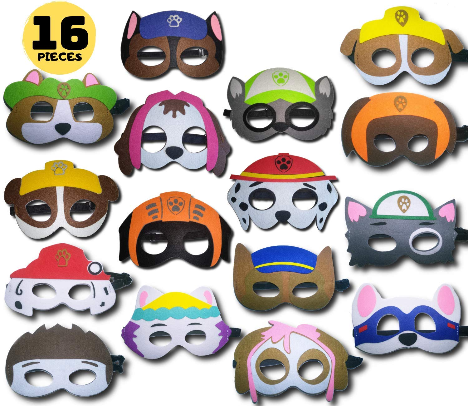 TONSY Paw Dog Patrol Masks Party Favors for Boys and Girls (16 Packs) Soft Felt and Adjustable Elastic - Paw Dog Patrol Party Supplies with 16 Different Types for Birthdays