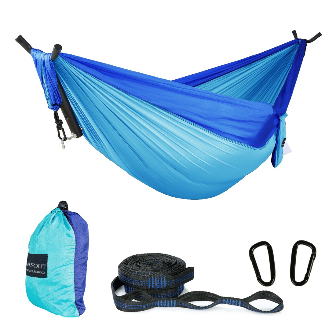 ASOUT Double Camping Hammock-Lightweight Nylon Portable Hammock with Hammock Tree Straps,for Outdoor Backpacking Travel.(Dark Blue/Lake Blue, Double) by ASOUT