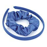 Girls School Satin Head Band and Hair Scrunchie Set in Royal Blue