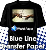 """Ink Jet Printer Heat Transfer Papers for Dark Fabrics - Blue Line - 8.5"""" X 11"""", 30 Sheets"""