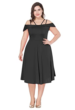 Womens Plus Size Sexy Spaghetti Strap Off Shoulder Empire Waist Cocktail Party Swing Dress (1X