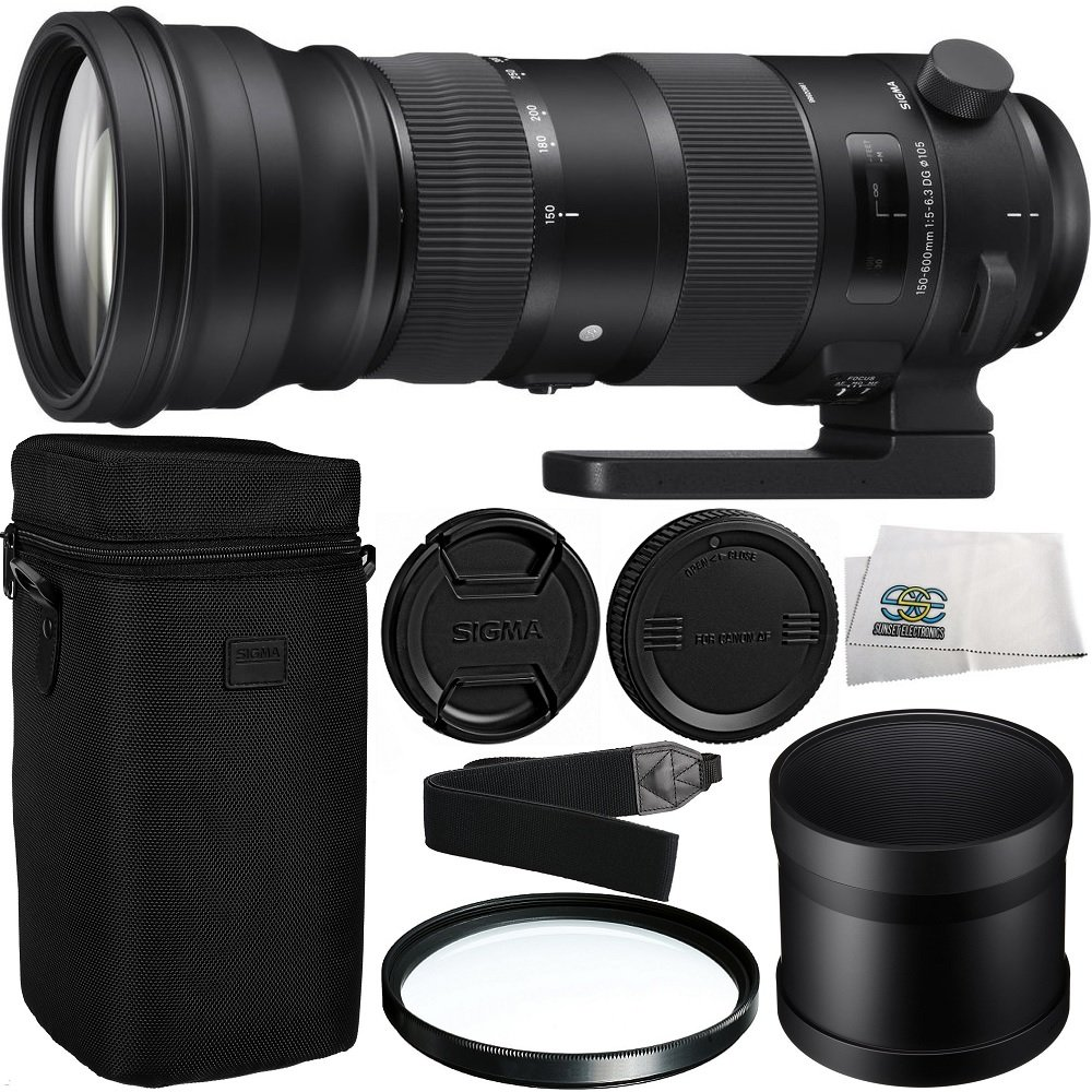 Sigma 150-600mm f/5-6.3 DG OS HSM Sports Lens for Canon EF with Manufacturer Accessories + 105mm Multi-Coated UV Filter + Shoulder Strap + Microfiber Cleaning Cloth