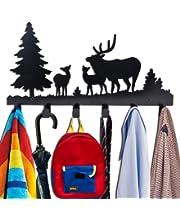 Wander Agio Deer Tree Forest Elk Cartoon Animal Metal Wall Mounted Bag Hanger Coat Rack Clothing Hooks Hanging Racks Black WAHANG004