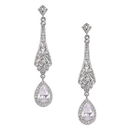 4a33f18d9 Amazon.com: SWEETV Silver Slender Teardrop Cubic Zirconia Vintage Dangle  Earrings Chandelier- Bridal Wedding Jewelry Style for Women Brides, ...
