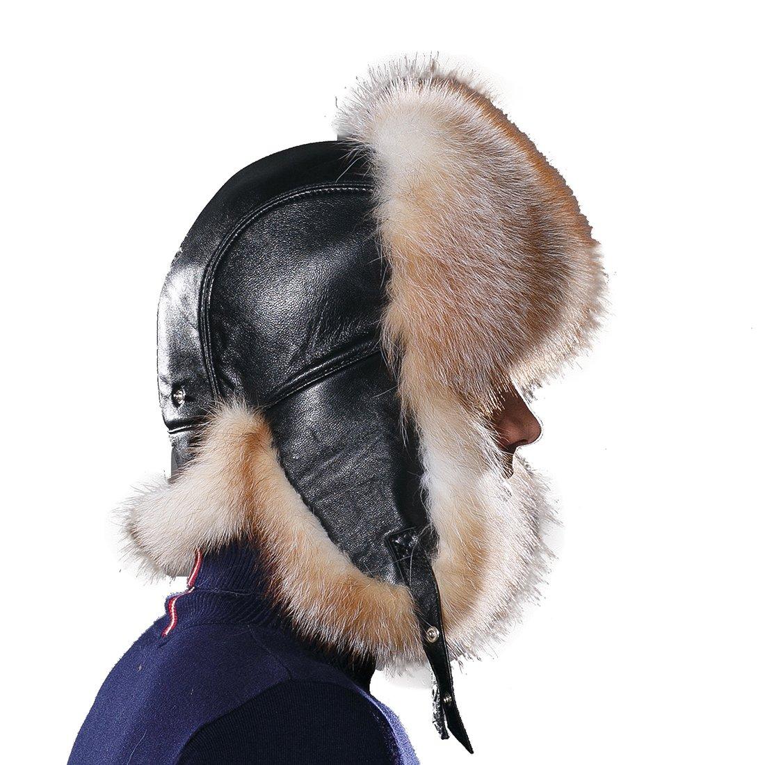 URSFUR Winter Mens Russian Ushanka Hat Real Leather & Fox Fur Trapper Cap Golden