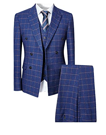 5b452f26843e Mens Blue Slim Fit 3 Piece Checked Suits Double Breasted Vintage Fashion ,Small,Blue
