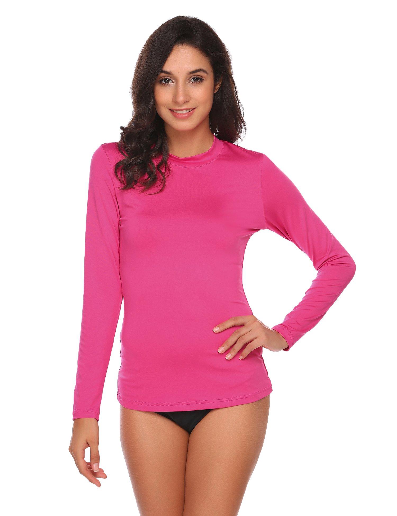 Zeagoo Women's Long Sleeve Swimwear Tops UV Sun Protection Rash Guard Surf Shirts Rashguard Top