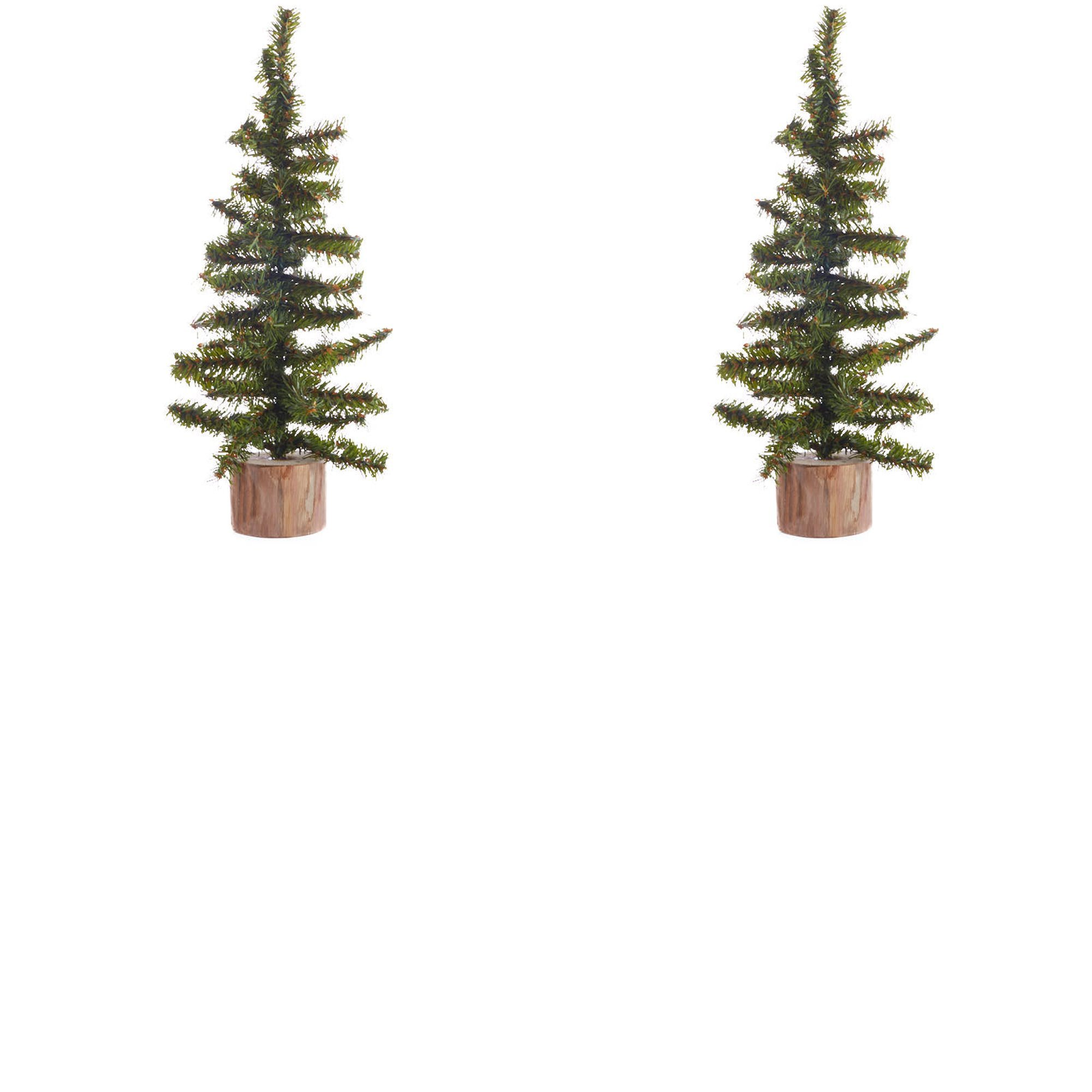 Factory Direct Craft Group of 2 Artificial Small Pine Christmas Trees with Wood Base - 12 Inches