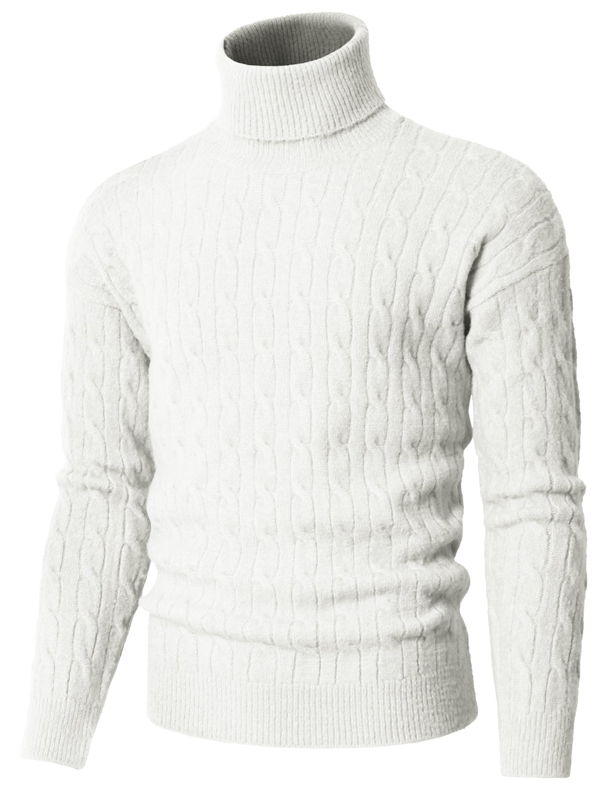 H2H Men's Cable Turtleneck Sweater Of Various Colors Ivory US M/Asia M (KMOSWL0235)