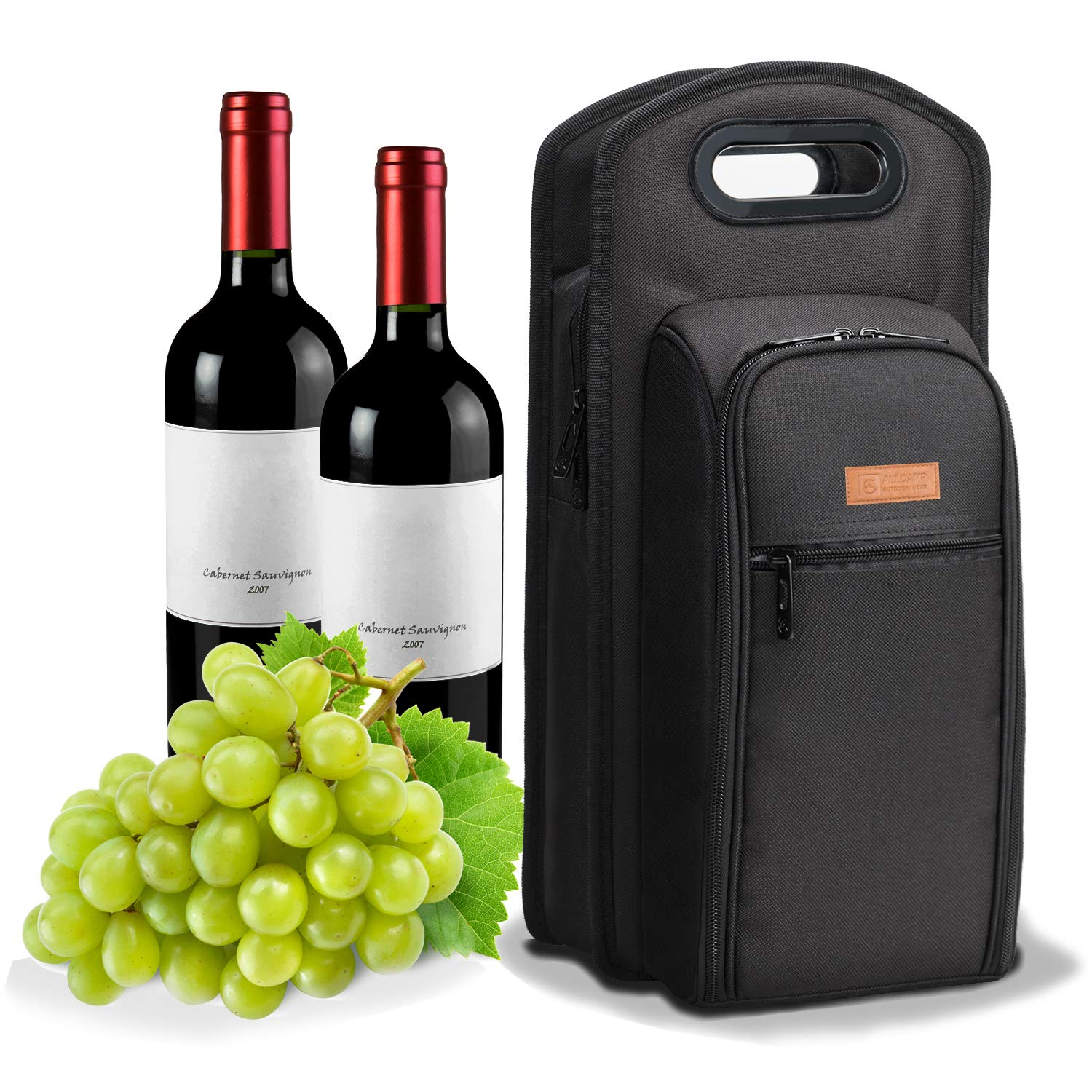 ALLCAMP 9 Piece Wine Travel Bag and Insulated Wine Carrier Tote Carrying Cooler Bag with Handle,Great Gift for Wine Lover, by ALLCAMP OUTDOOR GEAR