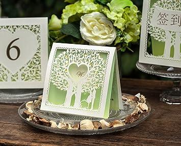 10 Stück Einladungskarten Glückwunschkarte Einladung Hochzeit DIY Motiv Baum  Herz Grün
