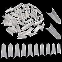 Noverlife 1000PCS C Curve 3D Edge Nail Shape False Nail Tips, 10 Sizes, Half Cover Pointy Fake Nails, Artificial Nail…