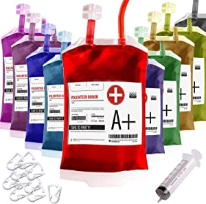Blood Bag drinking. Set of 10 fake iv Blood Bags for Drinks, 11.5Oz, with Extra Syringe Set of 10 Labels and Clips. Drink pouches Halloween/Vampire/Zombie/Nurse Graduation/decorations Party suplies