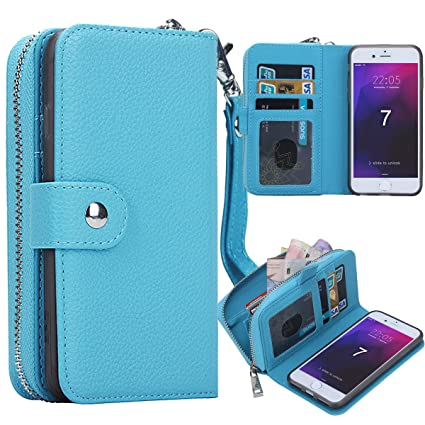 iPhone 7 Case, iPhone 7 Zipper Wallet Case, Pasonomi PU Leather Protective  Shell Detachable Folio Flip Holster Carrying Case with Card Holder for