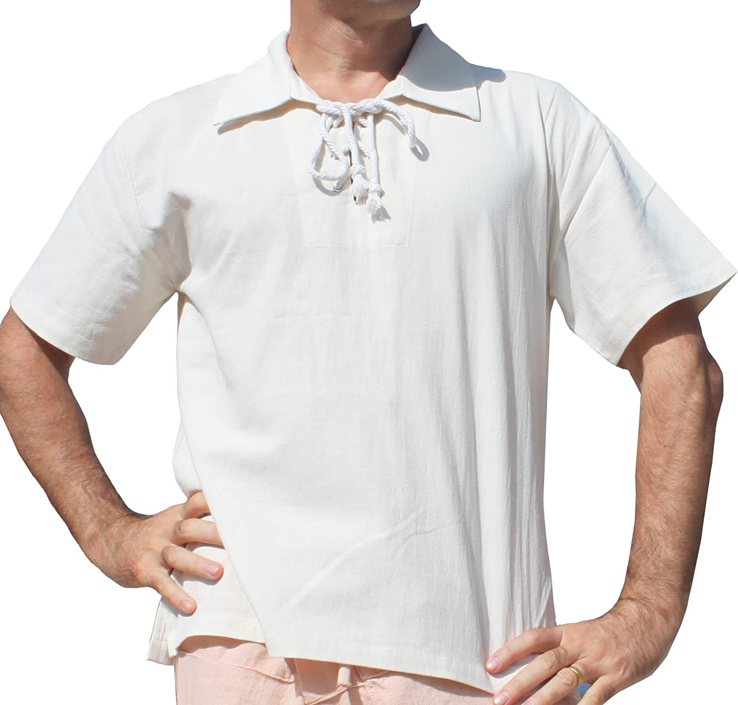 1960s – 70s Mens Shirts- Disco Shirts, Hippie Shirts RaanPahMuang Brand Light Cotton Wide Collar Medieval Renaissance Shirt Short Sleeve $23.79 AT vintagedancer.com