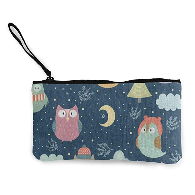 Canvas Coin Purse Funny Winter Owl Moon Forest Cloud Customs ...