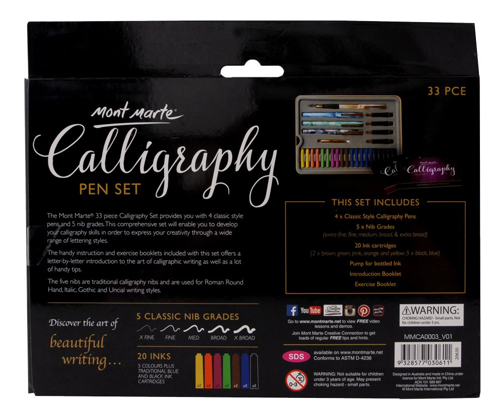 Mont Marte Calligraphy Set, 33 Piece. Includes Calligraphy Pens, Calligraphy Nibs, Ink Cartridges, Introduction Booklet and Exercise Booklet. by Mont Marte (Image #7)