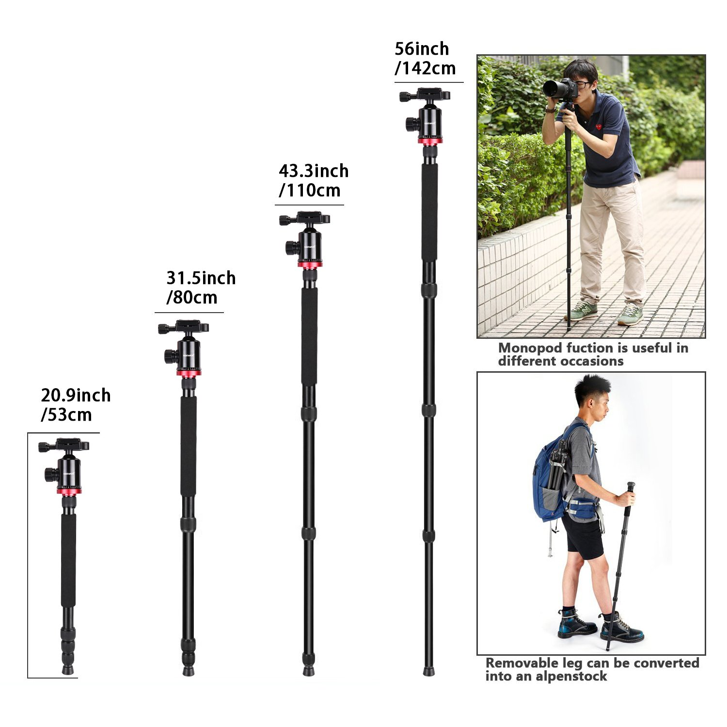 360 Degree Ball Head for DSLR Camera Video Camcorder up to 26.5 pounds Aluminum Alloy 75 inches//191 Centimeters Neewer Camera Tripod Monopod with Rotatable Center Column for Panoramic Shooting