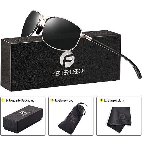 e3c0f197d023 Image Unavailable. Image not available for. Color  Rectangular Sport  Polarized Sunglasses for Men - Feirdio Mens Sunglasses Sports Metal Frame  ...