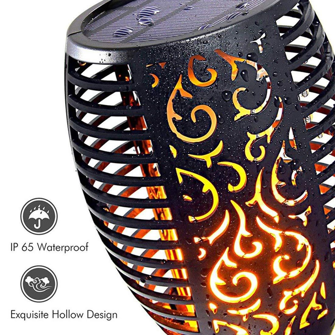 Xtozon Solar Torch Lights Upgraded, Dancing Flames Torch Solar Lamp, 96 LED Flame Effect Saving Lamp, Waterproof Outdoor Pathway Decoration Solar Security Light Auto On/Off from Dusk to Dawn - 4 pack by Xtozon (Image #4)