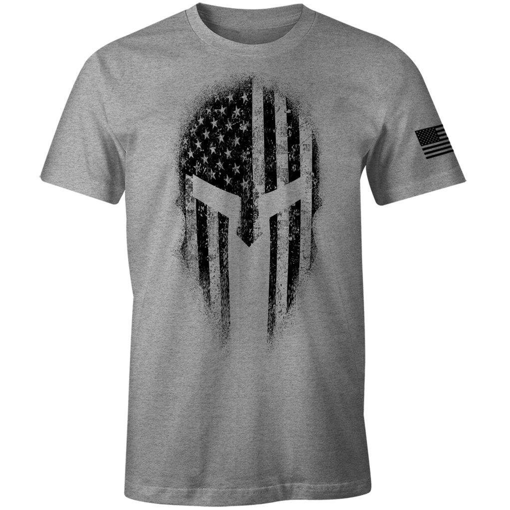 USA American Spartan Molon Labe Patriotic Men's T Shirt (Heather Grey, L)