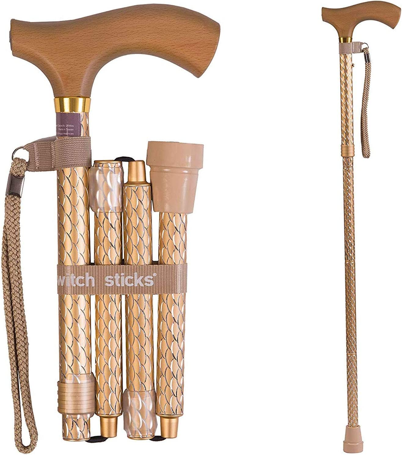 Switch Sticks Adjustable Folding Walking Cane and Walking Stick Collapses and Adjusts from 32 to 37 inches, Engraved Pearl Gold: Home & Kitchen