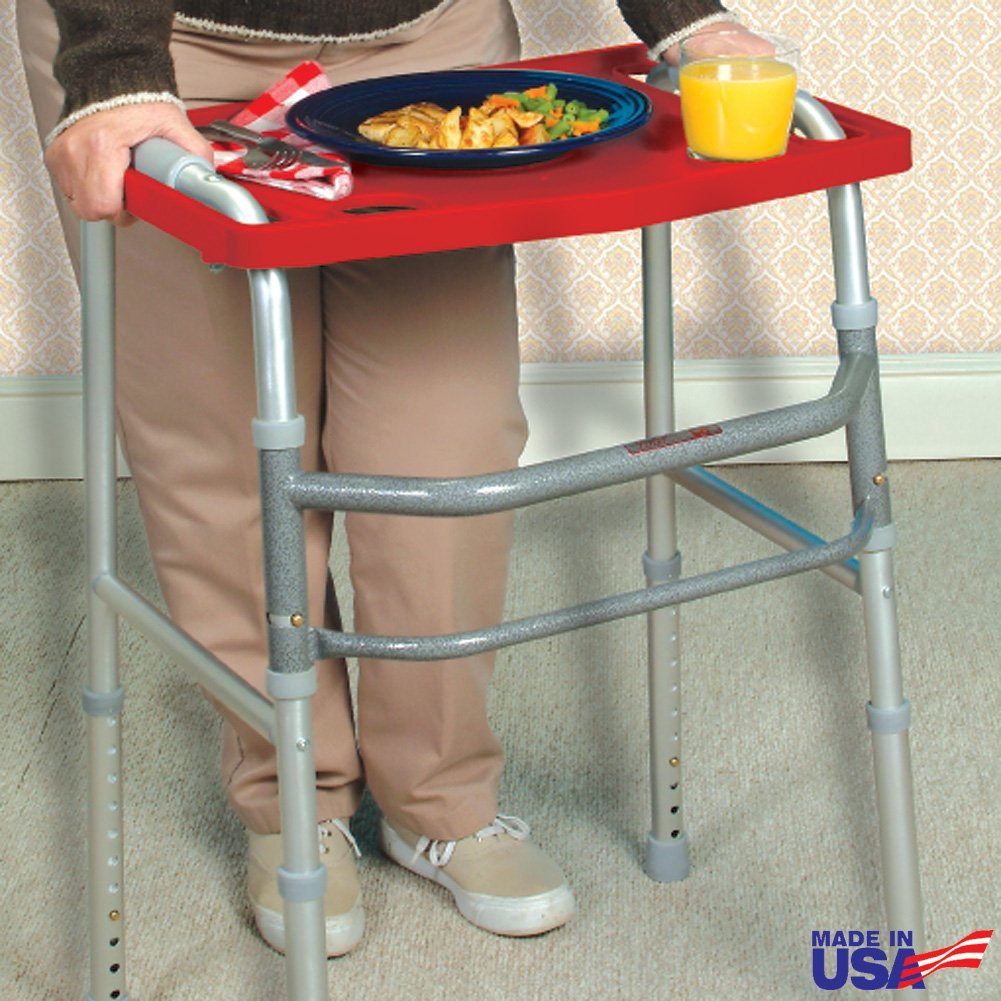 Red Heavy-Duty Walker Tray Accessory To Safely Carry Food, Books, Crafts Etc by Rose Healthcare