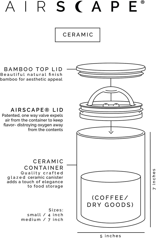 Tapa interna herm/ética patentada Gris Capacidad 250 g Altura 10,2 cm AirScape Caja de cer/ámica esmaltada para el almacenamiento de alimentos Tapa en la parte superior de bamb/ú