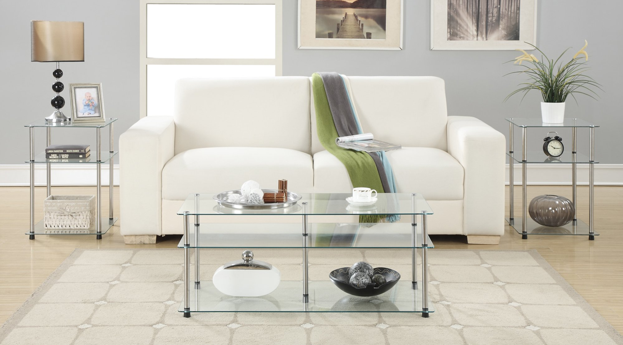 Convenience Concepts Designs2Go 3-Tier End Table, Clear Glass by Convenience Concepts