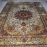 Yilong 9 x12  Oriental Rugs Handmade Antique Tabriz Floral Medallion and Thriving Flowers Pattern Hand Knotted...