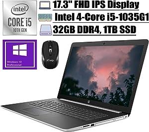 """2020 Premium HP 17 Laptop Computer 17.3"""" FHD IPS Display 10th Gen Intel Quad-Core i5-1035G1 (Beats i7-8550U) 32GB DDR4 1TB SSD DVD Backlit KB WiFi HDMI Win 10 Pro + iCarp Wireless Mouse"""