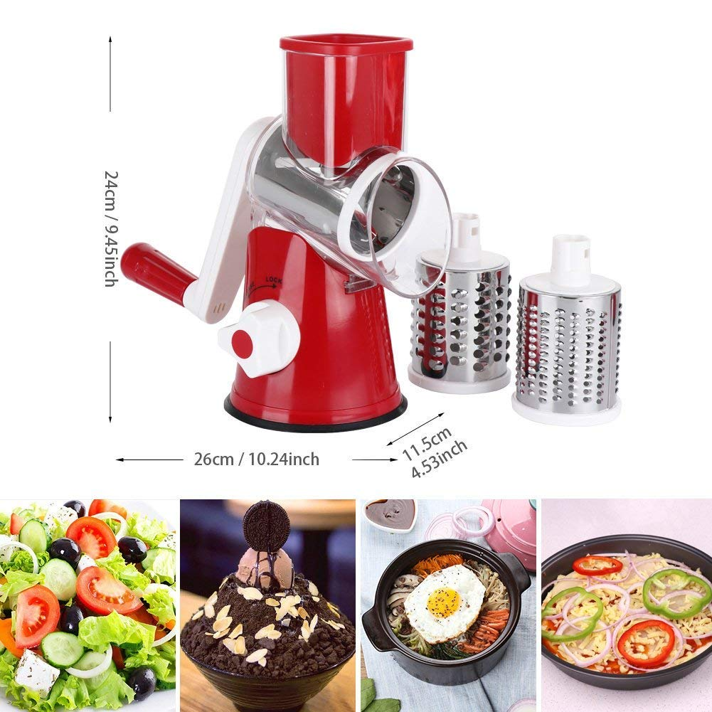 Manual Rotary Cheese Grater - Round Tumbling Box Shredder For Vegetable, Nuts, Potato With Peeler And Brush by WG