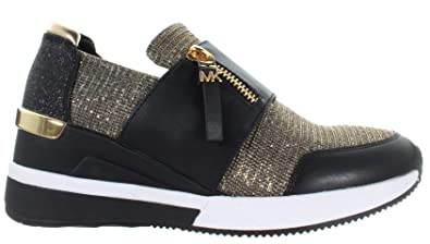 3469633acaa2d Michael Kors Michael by Chelsie Black and Gold Glitter Mesh Trainer