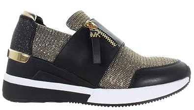 17ae21fbaa10 Michael Kors Women's Shoe Sneakers Chelsie Trainer Glitter Chain Mesh Black  Gold