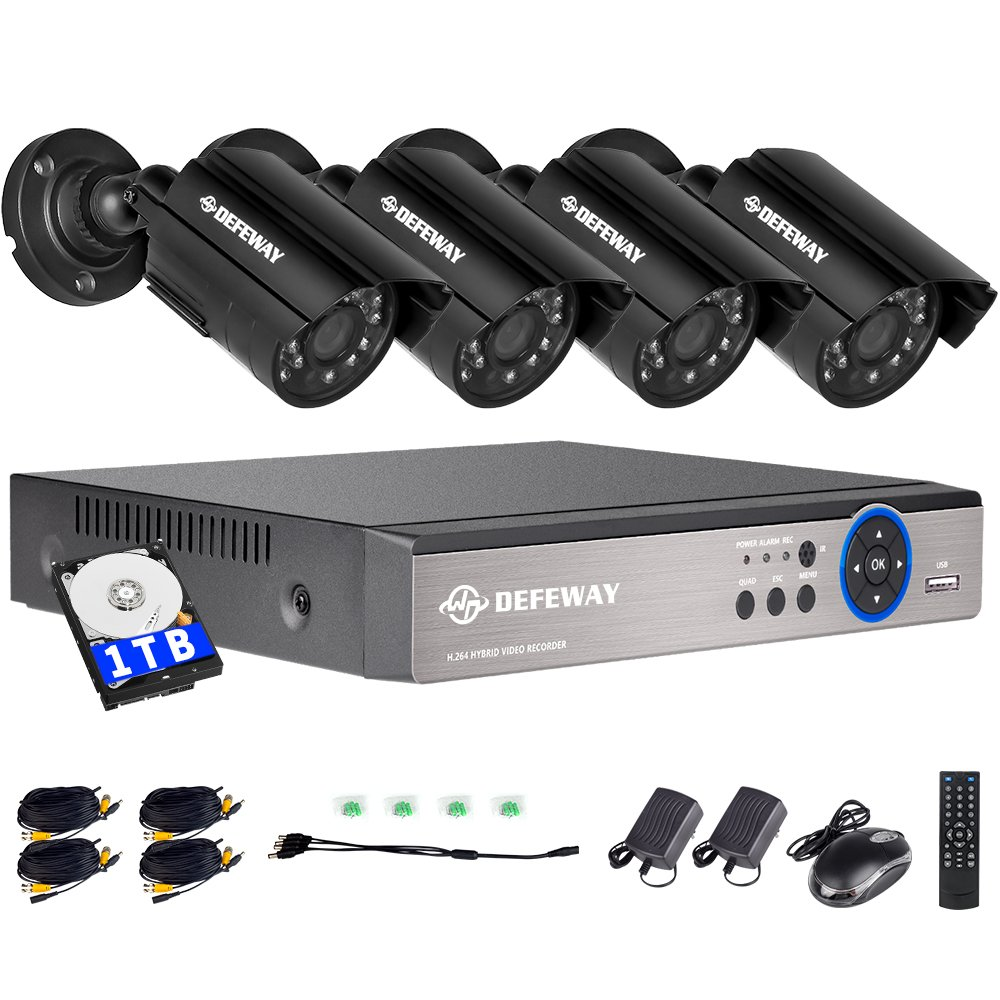 DEFEWAY 1080N DVR 1200TVL 720P HD Outdoor Home Security Surveillance Camera System with 1TB Hard Drive