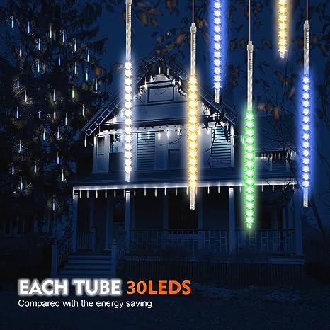 Samoleus 30cm 10 Tubo 300 LED Meteor Luci Natale Con EU Spina, IP65  Impermeabili Meteor