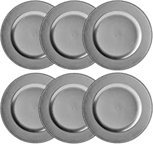 Round Beaded Decorative Charger Plates, 13 Inches Round, Set of 6, for Dining Table or Décor (Silver)