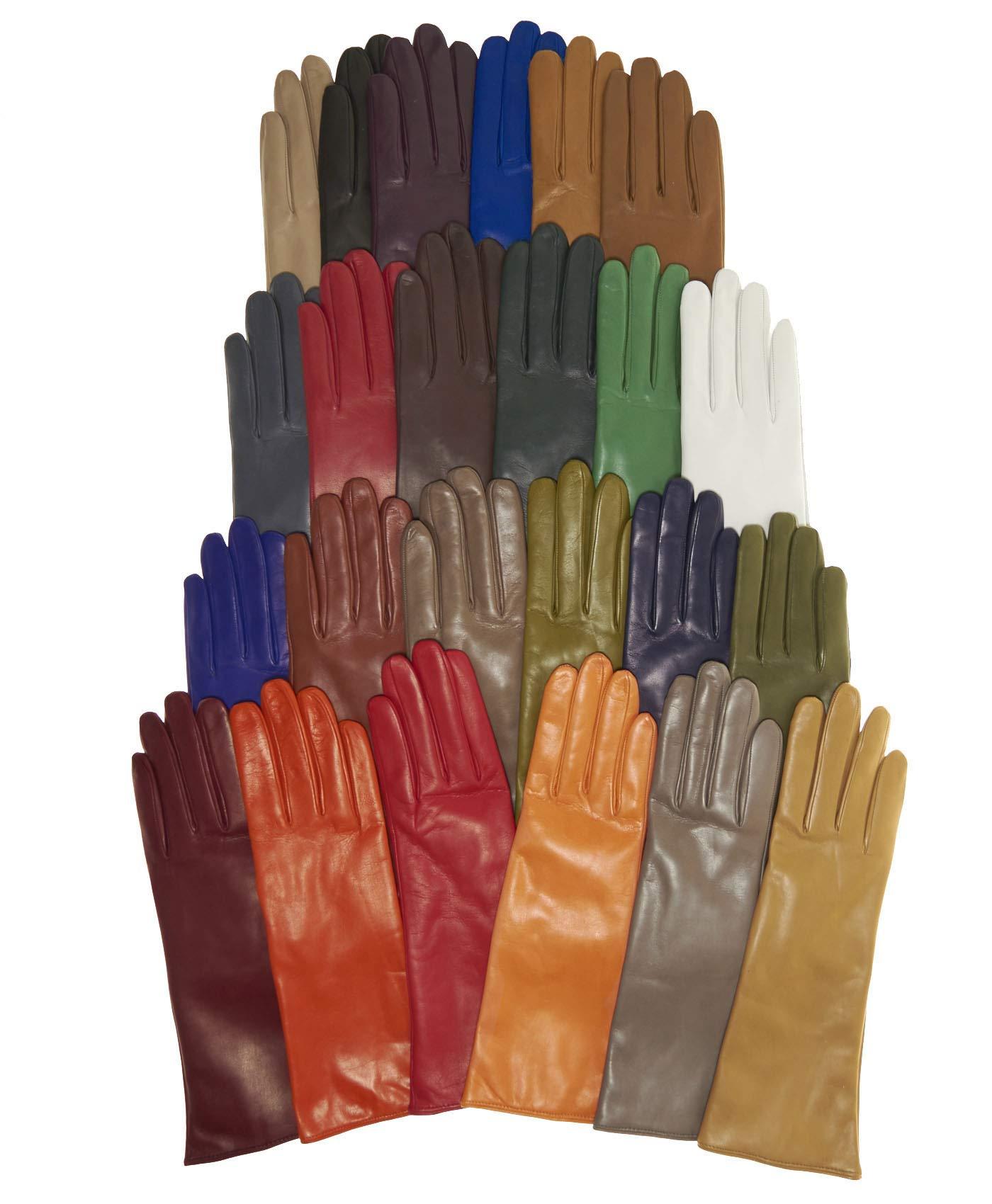 Fratelli Orsini Women's Italian''4 Button Length'' Cashmere Lined Leather Gloves Size 8 1/2 Color Black