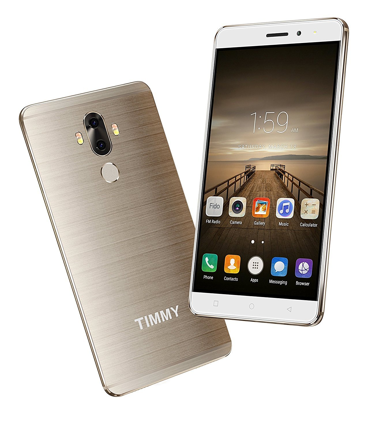 6.0'' Unlocked Smartphones,4G FDD-LTE,2GB/16GB,Dual Sim Quad Core Android 7.0 Cell Phone Gold by TIMMY by Timmy