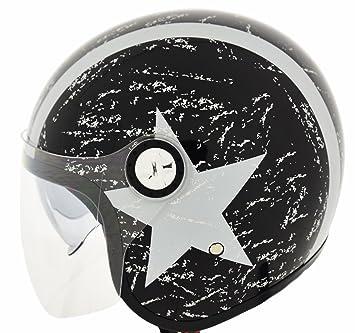 CRUIZER Casco Moto Jet, doble visera homologado estrella, negro, talla XL
