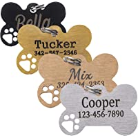 HiPeep Pet ID Tags Personalized Dog Tags Engraving Stainless Steel Custom Name Tag for Dog/Cat Bone Shape with Hollowed…