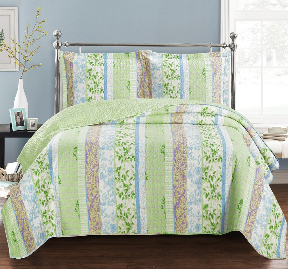 Hayley Full / Queen Size, Over-Sized Coverlet 3pc set, Luxury Microfiber Printed Quilt by Royal Hotel