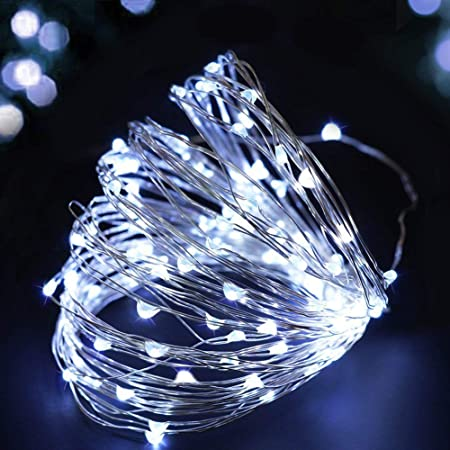 buways 2 Pack 75 LED 24.6ft Battery Operated Fairy String Lights with Remote Cool White 8 Modes Silver Wire Firefly Lights for Christmas Party Bedroom Indoor Outdoor Decor