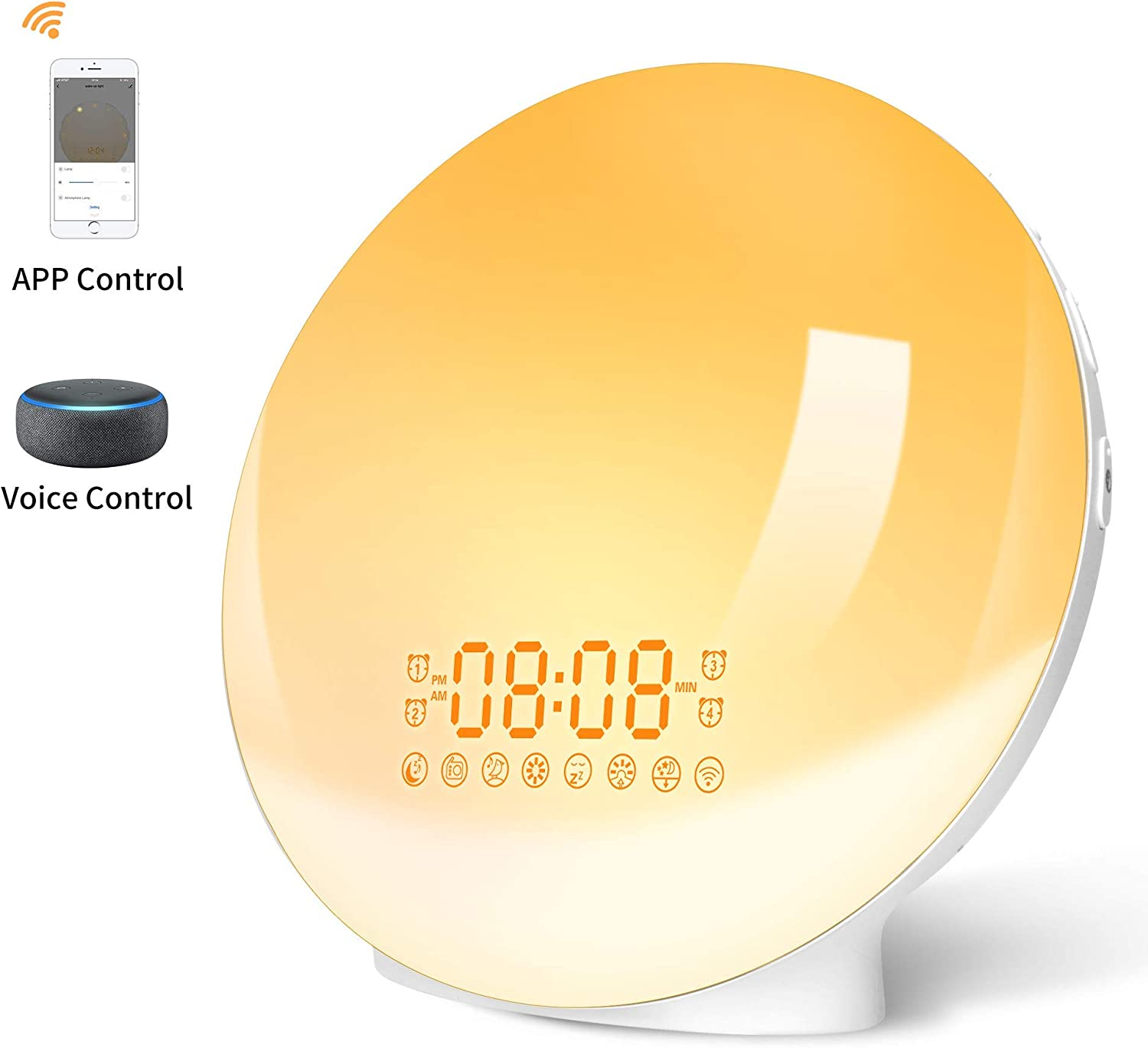 LBell - Upgrade Smart Wake Up Light Compatible with Alexa and Google, 8 Colors Sunrise Simulation and Sunset Fading Sunrise Alarm Clock, Alarm clock with FM Radio, 4 Alarm 12 Times Snooze Function