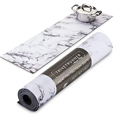 TRIVETRUNNER :Decorative Trivet and Kitchen Table Runners Handles Heat Up to 300F, Anti Slip, Hand Washable, and Convenient for Hot Dishes and Pots,Hand Washable (White Marble)