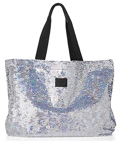 Amazon.com : Victoria's Secret Pink Sequin Tote Bag Silver Sequin ...