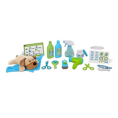Melissa & Doug Wash & Trim Dog Groomer Play Set With Plush Stuffed Animal Dog (20 pcs): Toy: Toys & Games