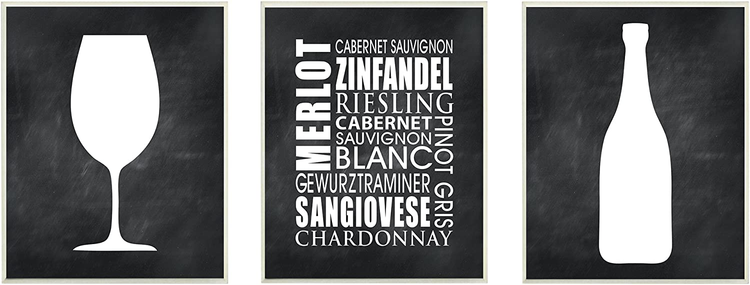 Proudly Made in USA Stupell Industries kwp-1011 trio 10 x 0.5 x 15 Stupell Home D/écor Wine 3-Piece Wall Art Set